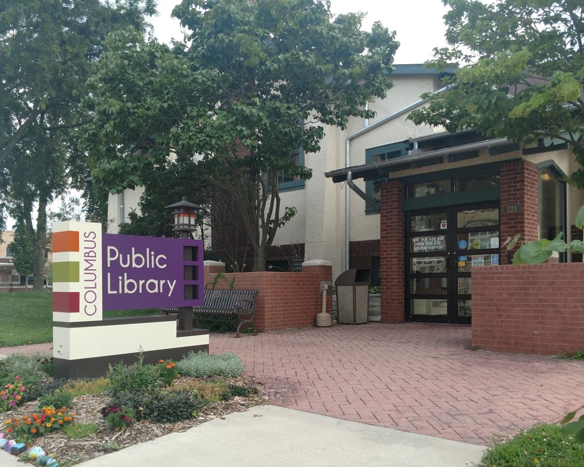 Columbus Public Library building in summer