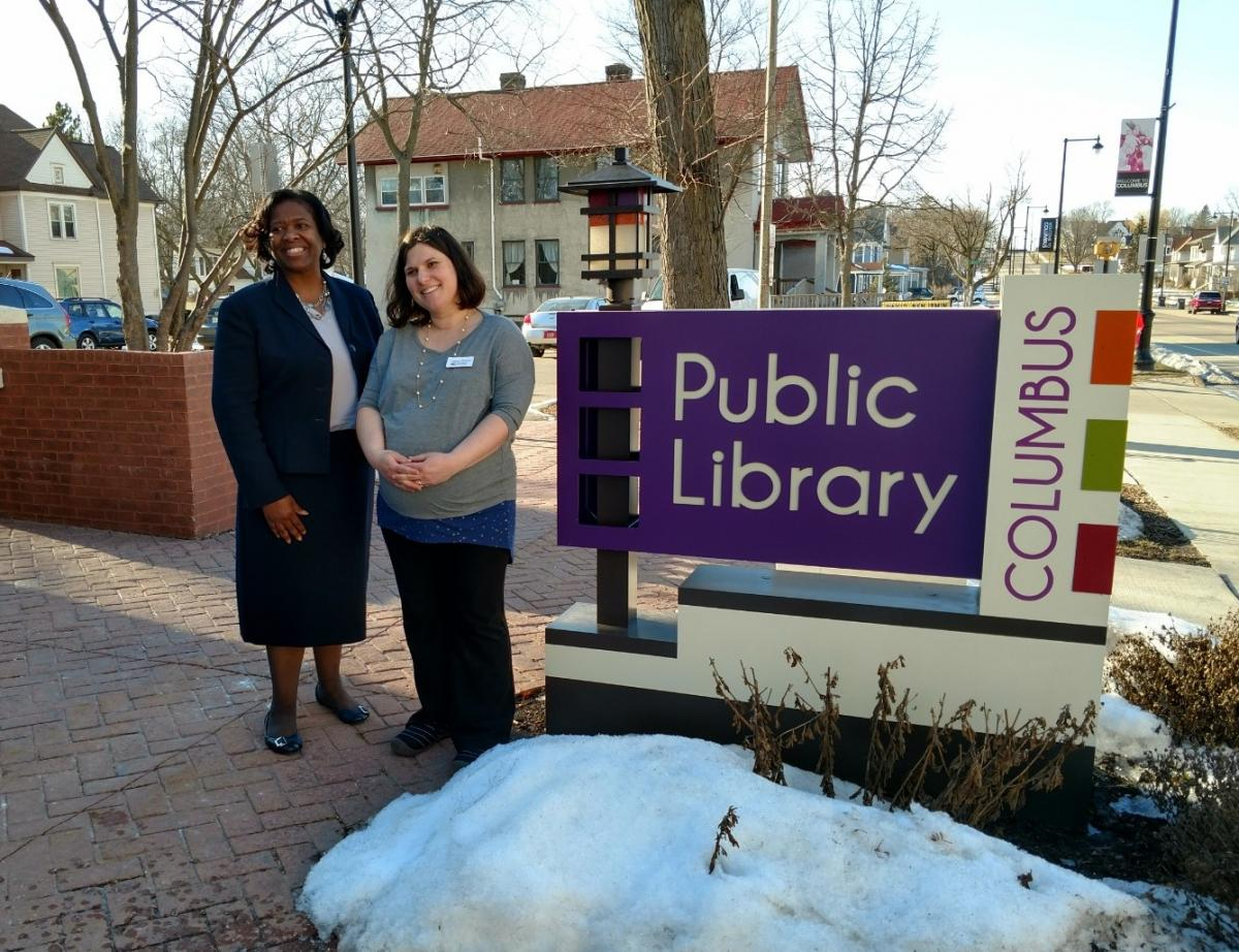State Superintendent of Public Instruction Carolyn Stanford Taylor & Library Director Lindsey Ganz