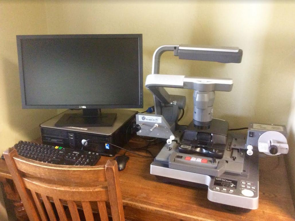 microfilm reader and computer monitor for viewing