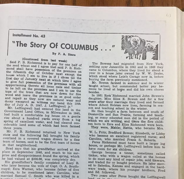 1 page Fred Stare's Columbus history articles